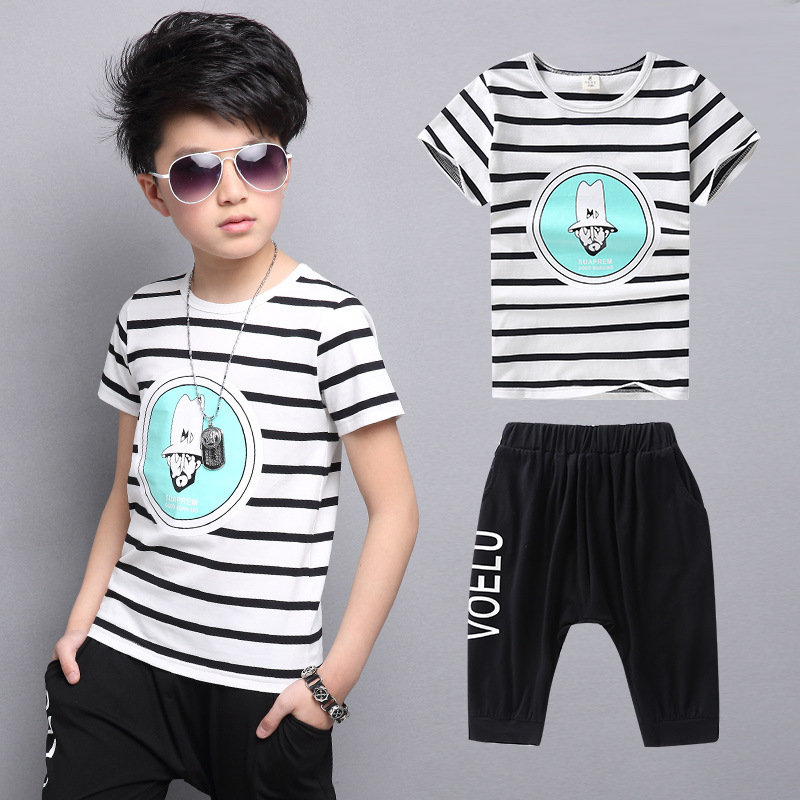 Catamite Summer Wear Child Suit A Head Like Stripe Two Pieces Leisure Time Motion Suit Kids Clothing Sets summer child suit new pattern girl korean salopettes twinset child fashion suit 2 pieces kids clothing sets suits