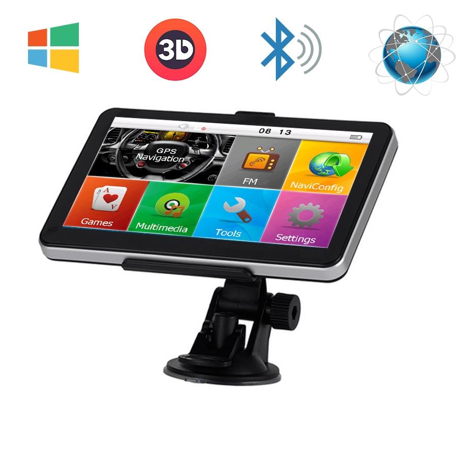 7 ''автомобильный Грузовик GPS навигации Оконные рамы CE 6.0 FM Bluetooth AV-в 8 ГБ/800 мГц навигатор географические карты для Европы/Навител/США жизни Карты