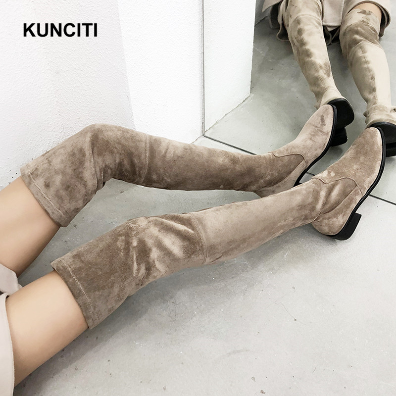 2019 KUNCITI Womens Thigh High Boots Over Knee Boots Women Chelsea Autumn Shoes Low Heel Leather