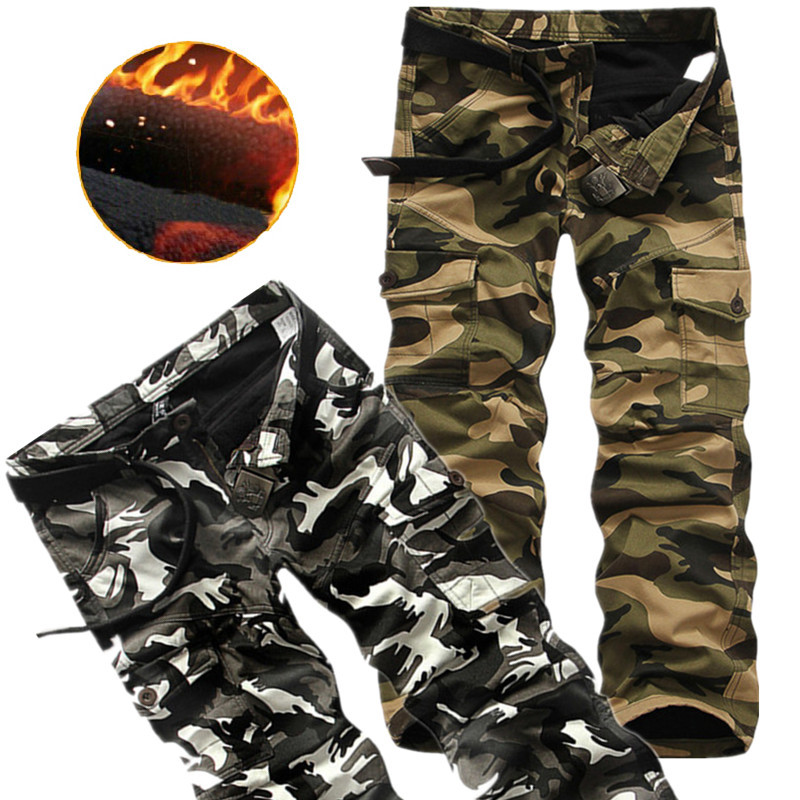 Winter Thicken Fleece Army Cargo Tactical Pants Overalls Men's Military Cotton Casual Camouflage Trousers Warm Pants 3