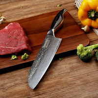 SUNNECKO Professional 7 Inch Santoku Knife Damascus Japanese VG10 Steel Blade Kitchen Knives PakkaWood Handle Meat