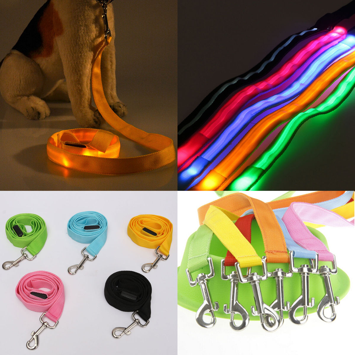 Ապրանքներ կենդանիների համար LED Pet Cat Dog LED LED Leash Night Safety Glow Leish Flashing Lighting Up 120cm Neylon Առաջնորդվում է LED Dog Dog Collar 7 Color