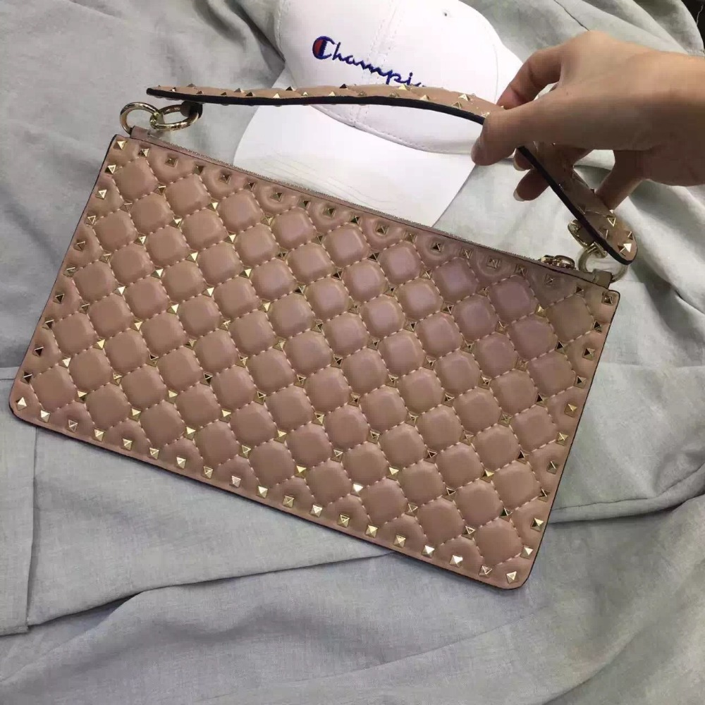 INTO Style 2017 new design genuine leather clutch rivets clutch 4 colors into