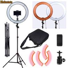 Regulable 13 pulgadas 45W LED SMD 5500K Ring Light Kit con bolsa, juego de filtros, Extended Mini Ball Head, soporte para teléfono móvil, soporte de luz