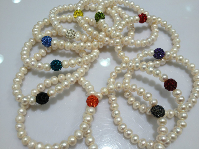 7 8mm Natural Freshwater Pearl Bracelets With Disco Ball Real Pearls Stretch Bracelet Trendy Fashion