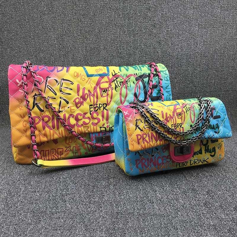 Colorful Rainbow Bag for Women 2019 Large Luxury Handbags Women Bags Designer Big Travel Shoulder Bag Women Handbags Ladies Hand