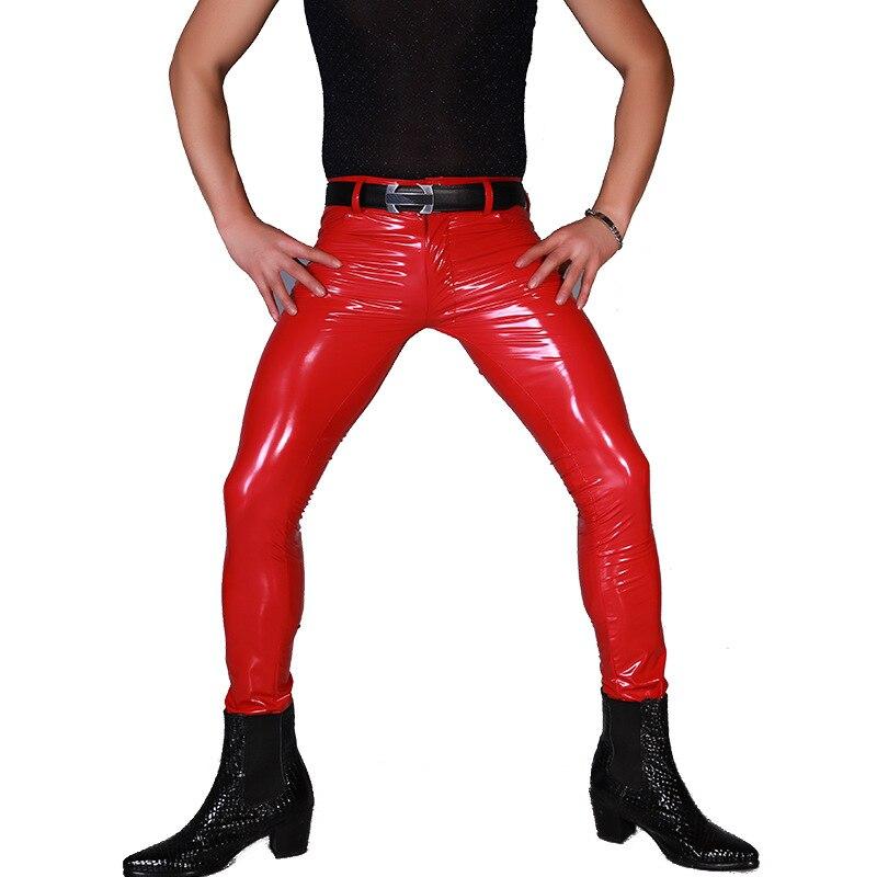 Sexy Hommes Plus Taille Serré Faux Cuir Zipper Avant Brillant Punk Casual Gay Porter Haut Élastique PVC Brillant Pur Couleur crayon Pantalon 11
