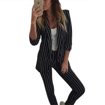 2951f6aa089 MVGIRLRU офисные женские туфли брюки для девочек костюм полосатый Женский комплект  2 шт. buttonless подкладке Блейзер Куртка с прямые брючные костюм.