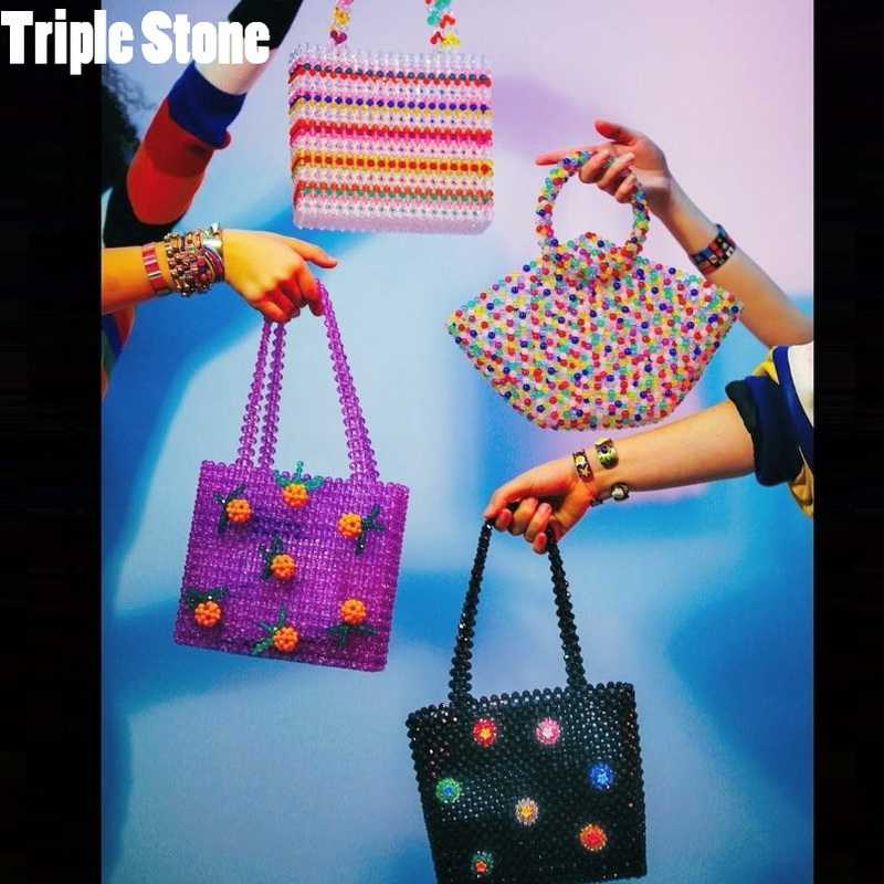 Handmade Acrylic Beaded Bag For Women Rainbow Multicolor Beading Tote Bag Lady Vintage Retro Luxury Crystal Pearl Evening Bag цена 2017
