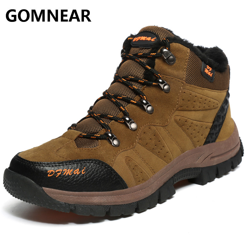 GOMNEAR 2017 New Arrival Winter Warming Men Hiking Shoes Outdoor Antishkid Winter Trekking Sports Boots Men Big Size Sneakers цена
