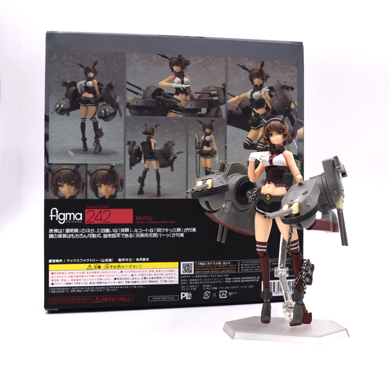 Anime Kantai Collection Mutsu Figma 242# PVC Action Figures Collectible Model Anime Toys Christmas Gifts 15cm free shipping cool 6 kan colle anime kantai collection mutsu figma boxed 15cm pvc action figure model doll toy gift figma 242