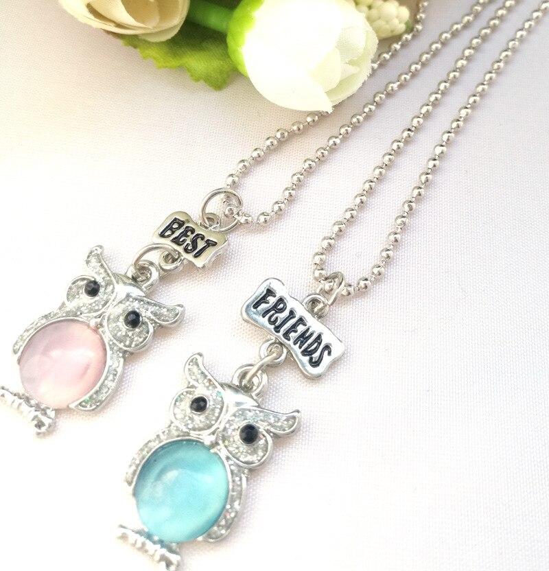 2PCS/Set Friendship Owl Necklaces Kids Stereo Imitation BFF Necklace For Children Best Friends Jewelry Ожерелье