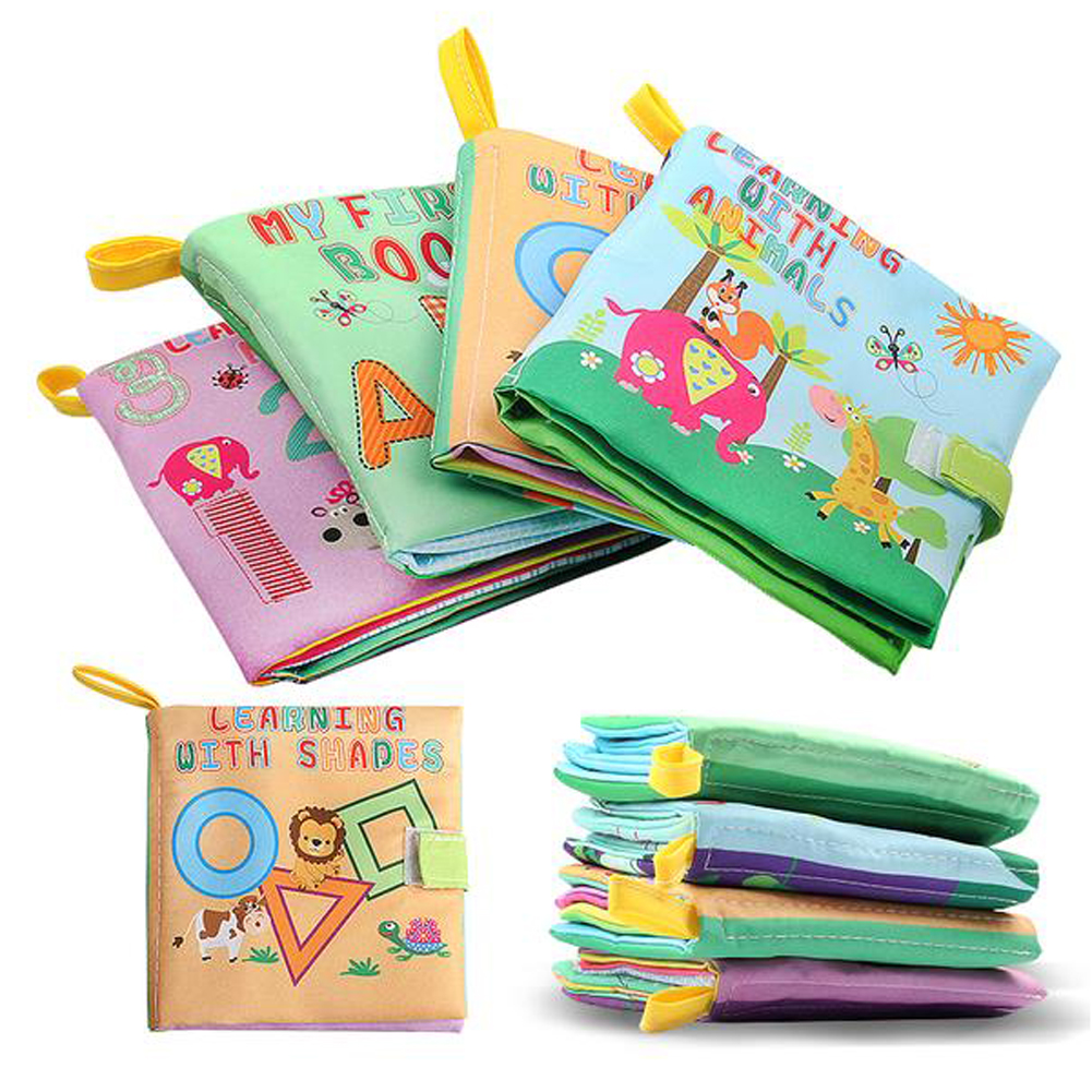4 Style Baby Cloth Book Educationl Toys Rattles Soft Cloth Books Toys For Newborns Sound Stroller Crib Bed Baby Toy 0-36 Months