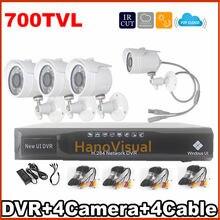 Free delivery! 4ch CCTV System CCTV Equipment Outside Four Digital camera 700TVL IR Digital camera Safety System House Surveillance System DVR Four Channel