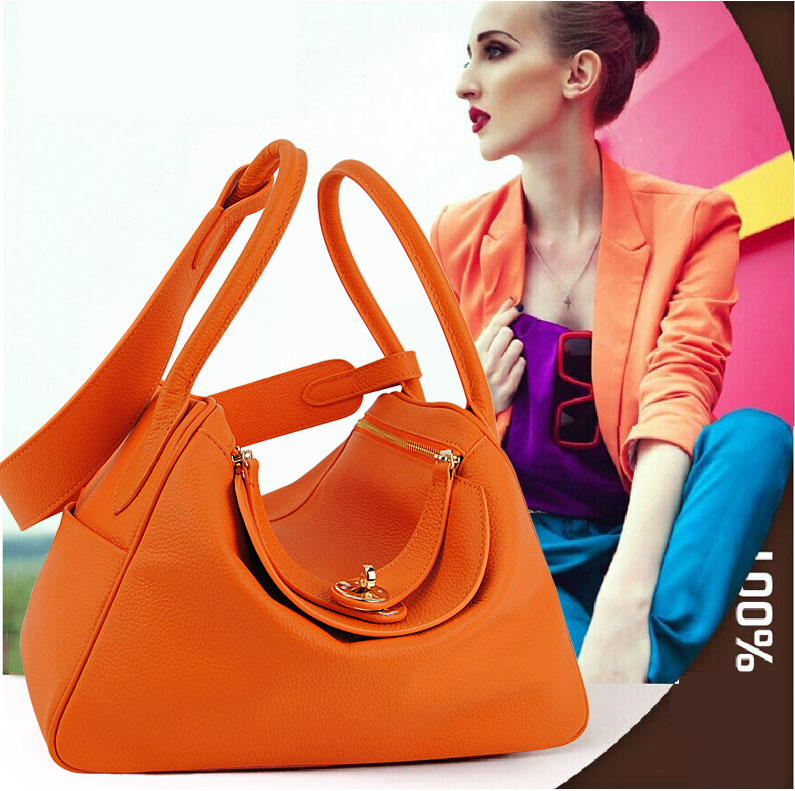 Women Genuine Real Cow Leather Handbag Doctor Satchel Shoulder Bag Fashion Purse Designer Daily Work Lady Stylish Free Shipping candy color women shoulder bag cross body handbag bucket satchel purse tassel summer bag cow leather ladies designer bag