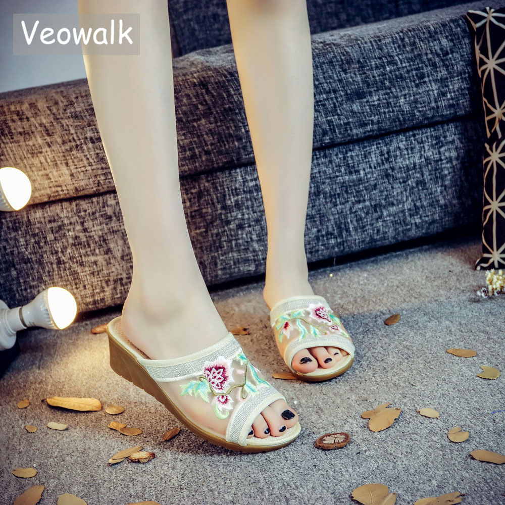 Veowalk Summer Style Women Gauze Embroidered Wedge Slides Slippers Open Peep Toe Elegant Ladies Casual Platforms Sandals Shoes