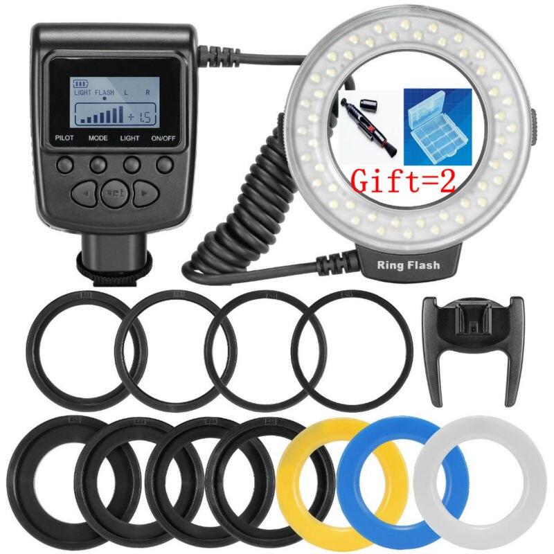 RF-550D 48 piezas Macro LED Flash de anillo paquete con 8 anillo adaptador para Canon Nikon Pentax Olympus Panasonic DSLR Cámara flash V HD130