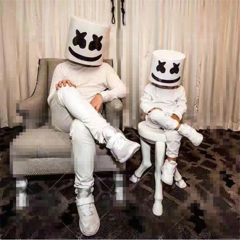 DJ Marshmello Mask Adults Kids Bar Electronic Syllable Hip Hop Cosplay Costume Accessories Carnaval Halloween Latex Masks Gift