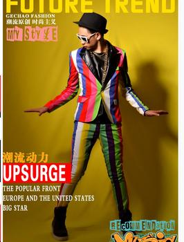 M-5xl 2020 New Men Nightclub Suit Dress Singer Splicing Colorful Striped Visual Suit Bar Performance Singer Stage Costumes