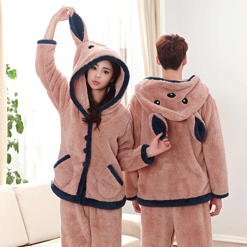 Long-Sleeve Couple Coral Fleece Pajamas Bear Winter Flannel Warm Love Mens Pyjamas  Women s Sleep 94caed574