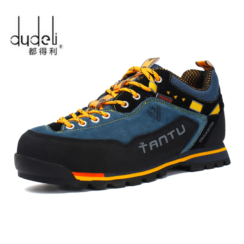 DUDELI Waterproof Hiking Shoes Men Suede Mountain Climbing Shoes Quality Outdoor Trekking Shoes Breathable Hiking Hunting