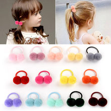 "14pcs/lot 1.4"" Small Solid Double Fur Ball With Elastic Rope Handmade Hair Band For Kids Girls Hair Accessories 979(China)"
