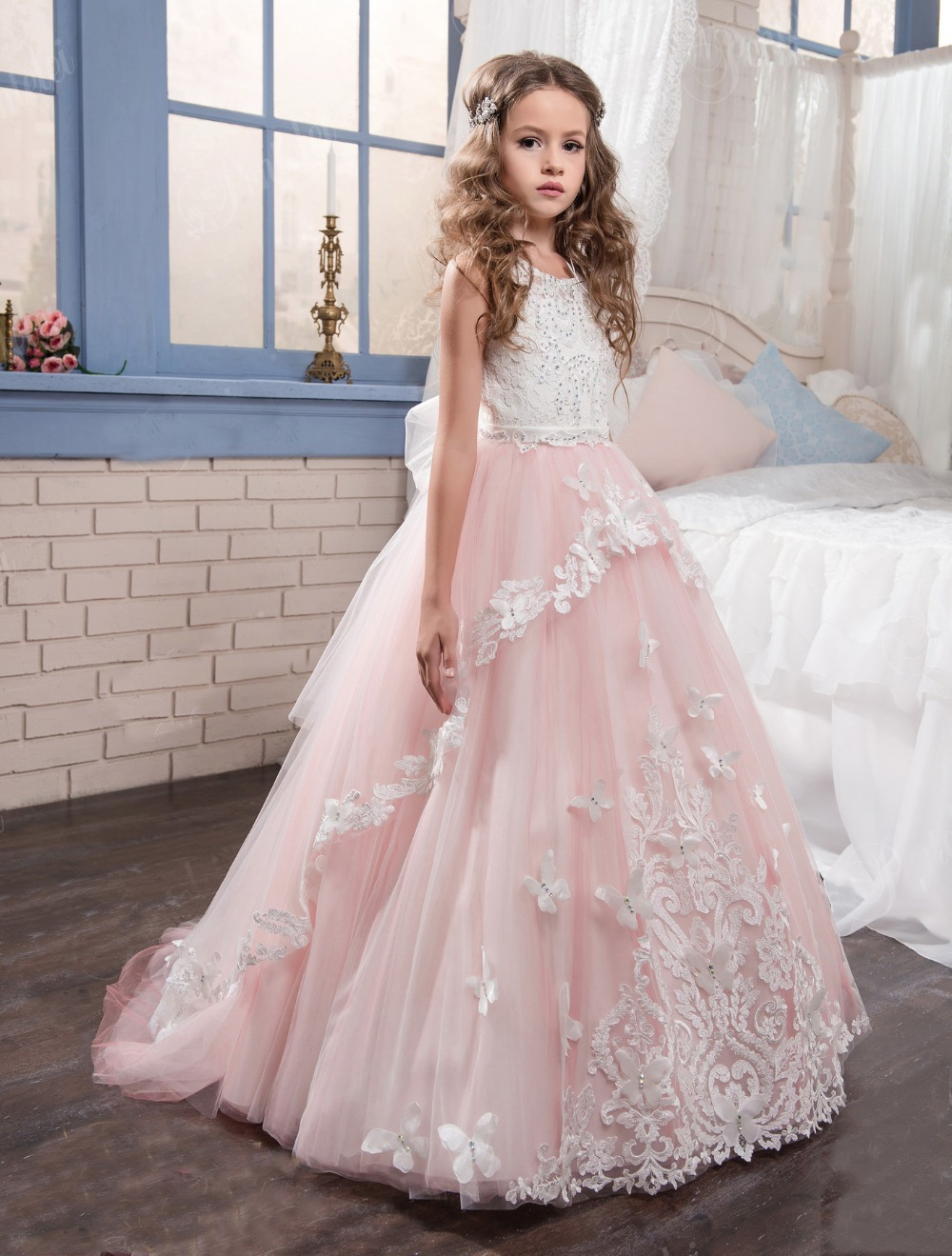 Coral Pink Beaded Flower Girl Dresses For Weddings Puffy