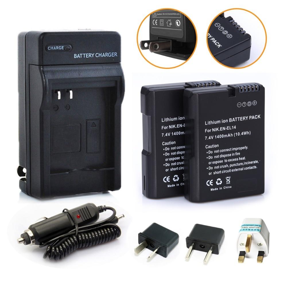 2pcs En El14 Repalcement Batteries Charger Car D3100 Power Connector Cover From Nikon Plug For Coolpix P7000 P7100 D3200 D5100 1400mah In Digital
