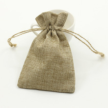 Linen Fabric Cloth Natural Color Bright Golden Silver Gift Organza Bags Storage Pouches Jewelry Packaging