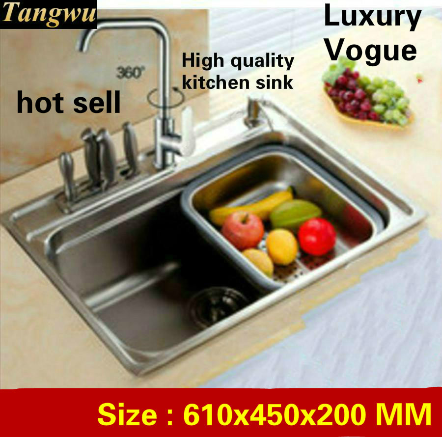 Tangwu High quality fashion food-grade 304 stainless steel kitchen Sink large single slot 610x450x200 MMTangwu High quality fashion food-grade 304 stainless steel kitchen Sink large single slot 610x450x200 MM