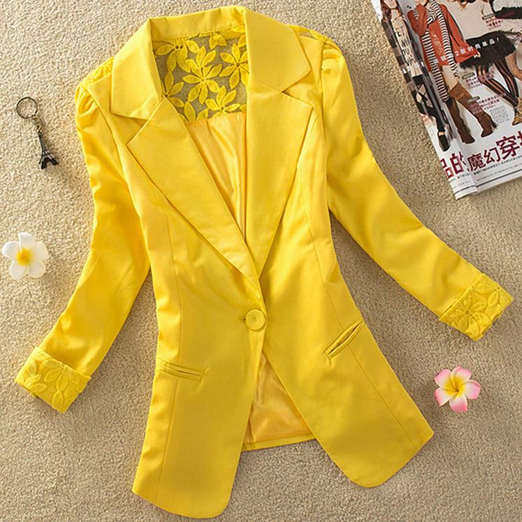 New Suit Spring And Summer New Slim Lace Stitching Women Suit Jacket Career Xxxl Plus Size
