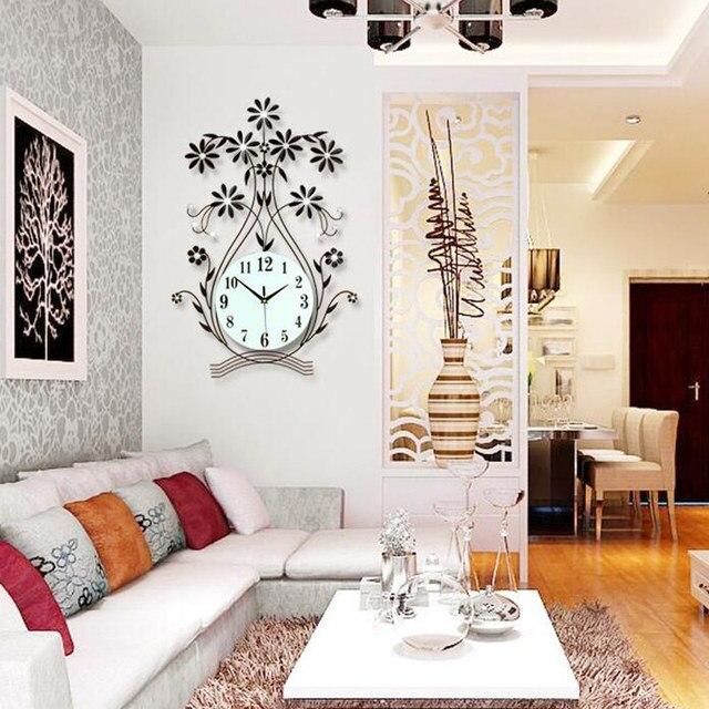 65*34Cm Large Gold Wall Clock Fashion Art Clock Living Room