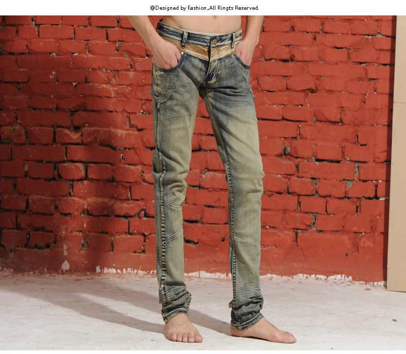 Clothing skinny pants male slim elastic jeans finishing personality vintage retro autumn and winter thick