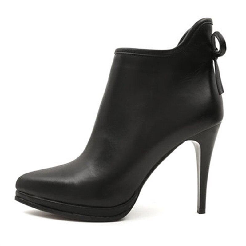 Zapatos Tacones 2018 Venta Mujeres Del Simple Las Delgados Negro Genuino Asumer De Dedo Pie Caliente Alto Botas Tacón Sexy Punta Moda Cuero Para Tobillo qFExz6nwU