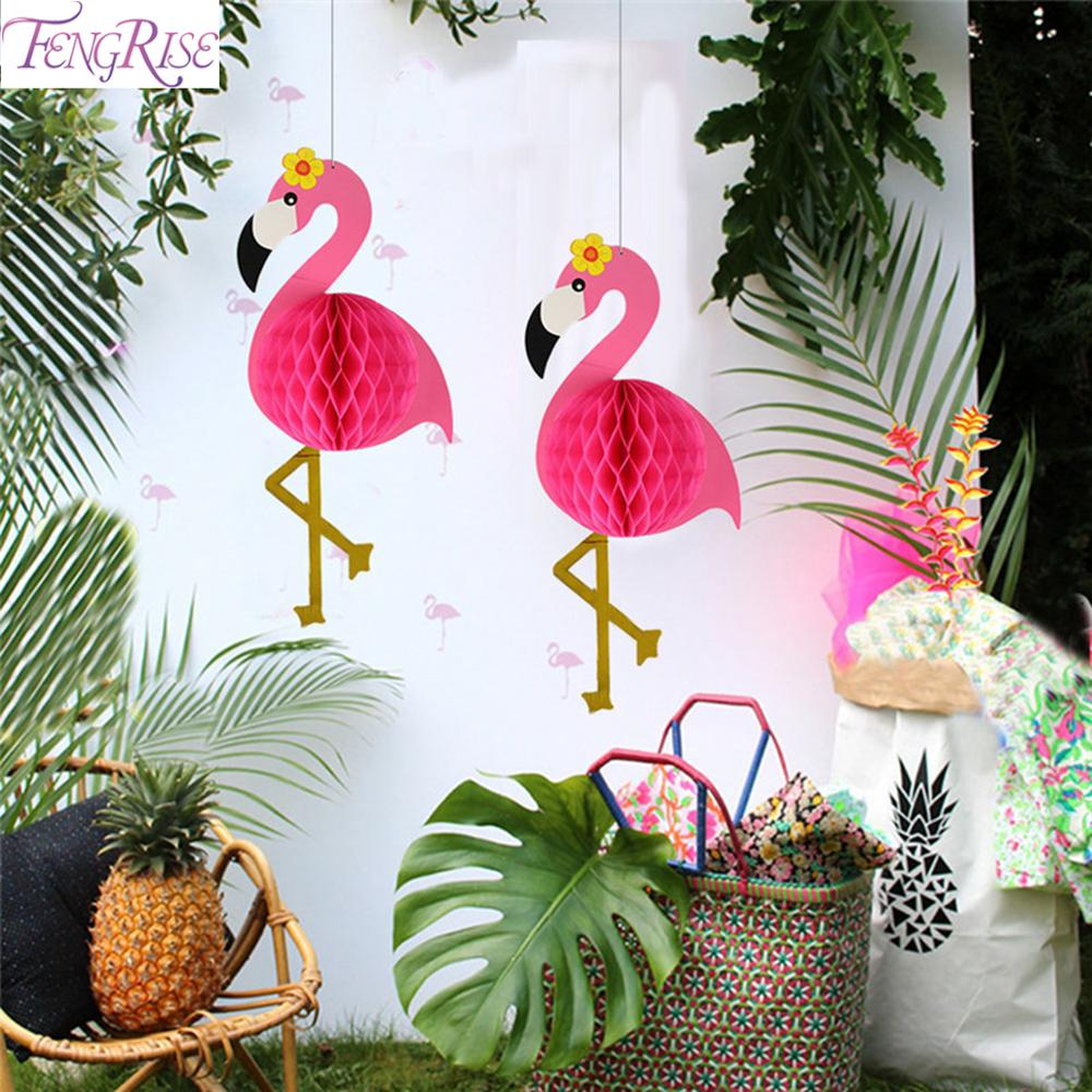 FENGRISE Pink Flamingo Party Decor Supplies Summer Tropical Theme Hawaii Decorations Hawaiian Decoration
