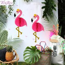FENGRISE Pink Flamingo Party Decor Supplies Summer Tropical Theme Hawaii Decorations Hawaiian Decoration