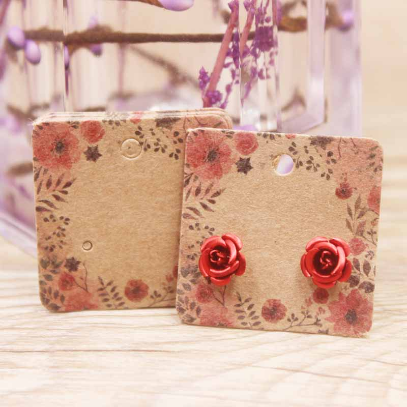 50pcs Flower Pattern Stud Jewelry Earring Display Paper Package Card DIY Handmade/marble Heart Elegant Stud Earring Card
