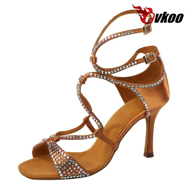Evkoo Танцы Костюмы для латиноамериканских танцев танцевальная обувь Best продавец 8.3 см высокий каблук коричневый черный цвет со стразами танц...