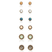 6Pairs/Set Fashion Gold Color Luxury Crystal Stud Earrings For Women Vintage Flower Earring Set Boho Punk Jewelry Accessories