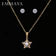 EMMAYA New Simulated Pearl Cz Jewelry Sets Star Pendant Necklace Earrings For Women Wholesale Price(China)