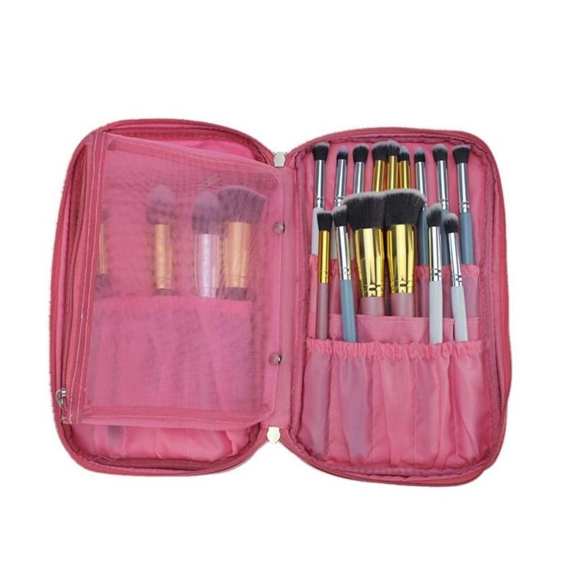 Pockets Makeup Brush Bags Holder Women Cosmetic Bag Organizer pink Zipper makeup bag Case Women bag Korean cosmetics travel @ цена 2017