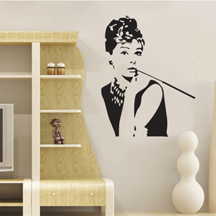 Aliexpress.com : Buy Audrey Hepburn Wall Stickers Beauty Wallpaper Women  Poster Saloon Store Showcase Decals Black Stickers Saloon Decoration From  Reliable ... Part 46