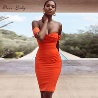 Deer Lady Women Summer Bodycon Dress 2018 Crepe Bodycon Dress Nightclub Mini Eleagnt Orange Off Shoulder Party Dresses Club