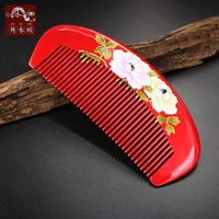TOP END Authentic Natural Boxwood lacquer crafts comb Boutique hand painted art comb Pocket comb Anti static comb