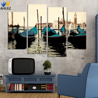 Fashion 4pcs Lot Free Shipping Blue Boat Seascape Modern Wall Painting Home Decorative Art Picture Paint