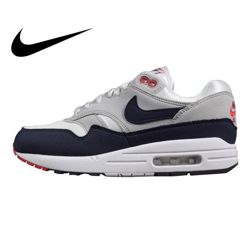 Original Nike Air Max 1 Men's Running Shoes Black&Grey/Grey&Blue Shock absorbing Non slip Lightweight 908375 104 AH8145 102