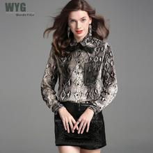 hot deal buy hot sale snakeskin blouse 2019 spring top quality silk blend self bow tie one pocket front long sleeve elegant blouses shirts
