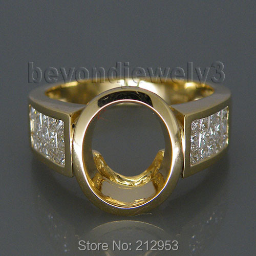 Vintage Unique 14Kt Yellow Gold Oval Ring Design 8x10mm Natural Princess Diamond Semi Mo ...