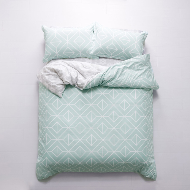 Superb Modern Simple Geometric Pale Turquoise Bedding Set Queen King Size Duvet  Covers Bed Sheets With Pillowcase