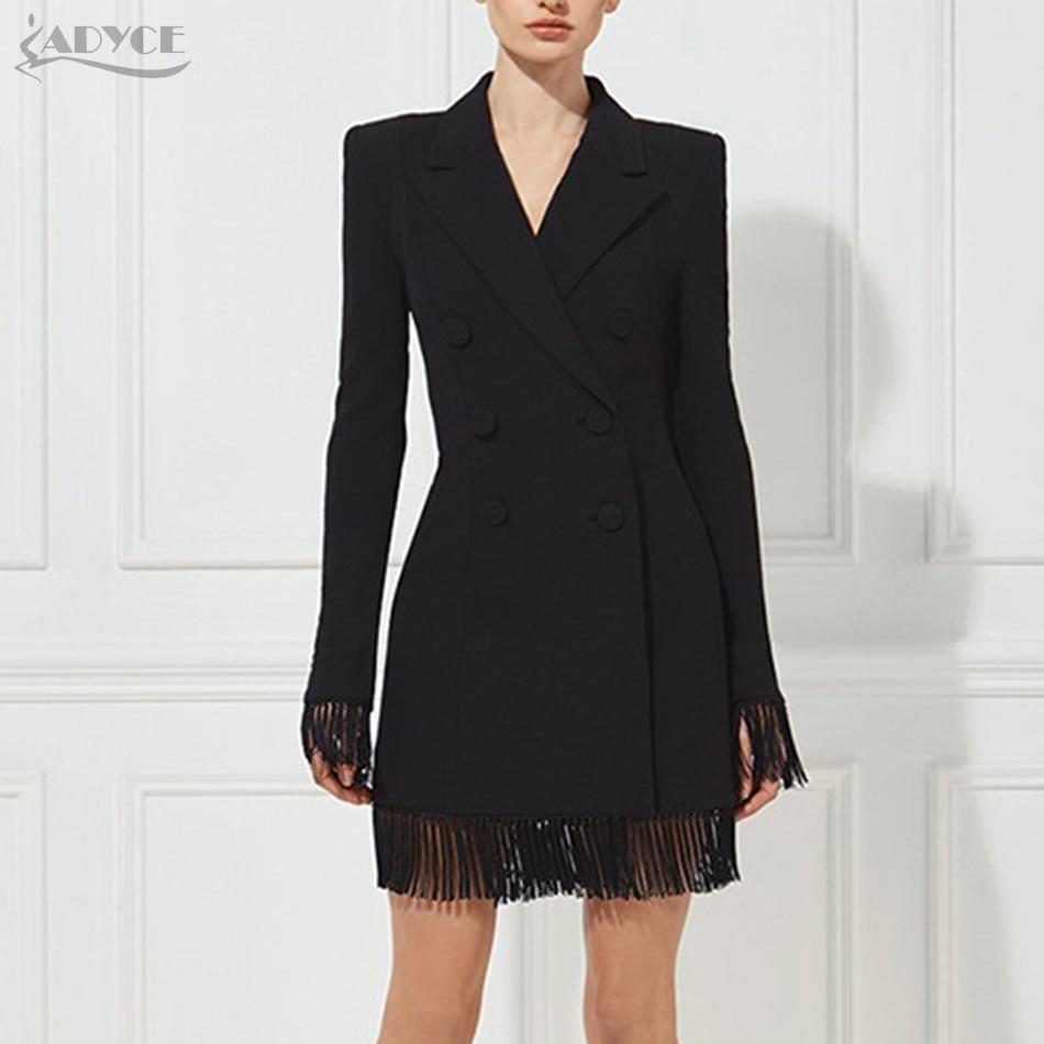 Adyce Summer Women Slim Black Jacket V-Neck Double Breasted Long Sleeve Long Style Tassel Fashion Women Out wear Jacket